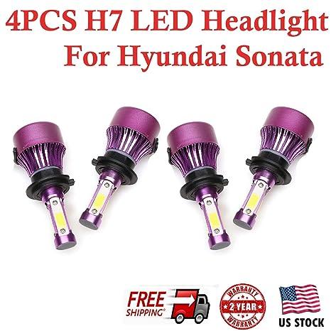 H7 Led Headlight Bulbs Conversion Kit For Hyundai Sonata 2011 2012 2013 2014 High Low Beam 6000k Cool White 200w Total 20000lm Super Bright 2 Yr