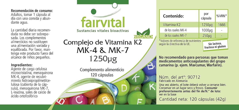 Vitamina K2 MK-4 compleja y MK-7 1250μg - Bote para 4 meses - VEGANO - Alta dosificación - 120 cápsulas - trans-MK-7: Amazon.es: Salud y cuidado personal