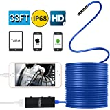 Upgraded Endoscope with Case, Lememogo 33FT Borescope Inspection Camera 2.0 Megapixels HD Snake Camera for All Android and IOS Phones, iPhone, Samsung, Tablet - Blue