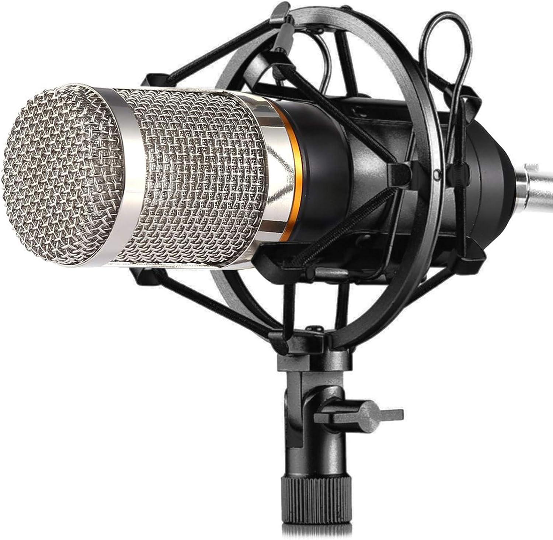 BM-800 Microphone /à condensateur avec Shock Mount et Kit de Pince de Fixation Microphone /à Condensateur Professionnel Enregistrement Studio Microphone de Diffusion