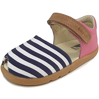 Bobux Twist Sandal 20EU - 29EU in Red or Pink and white with navy stripes,
