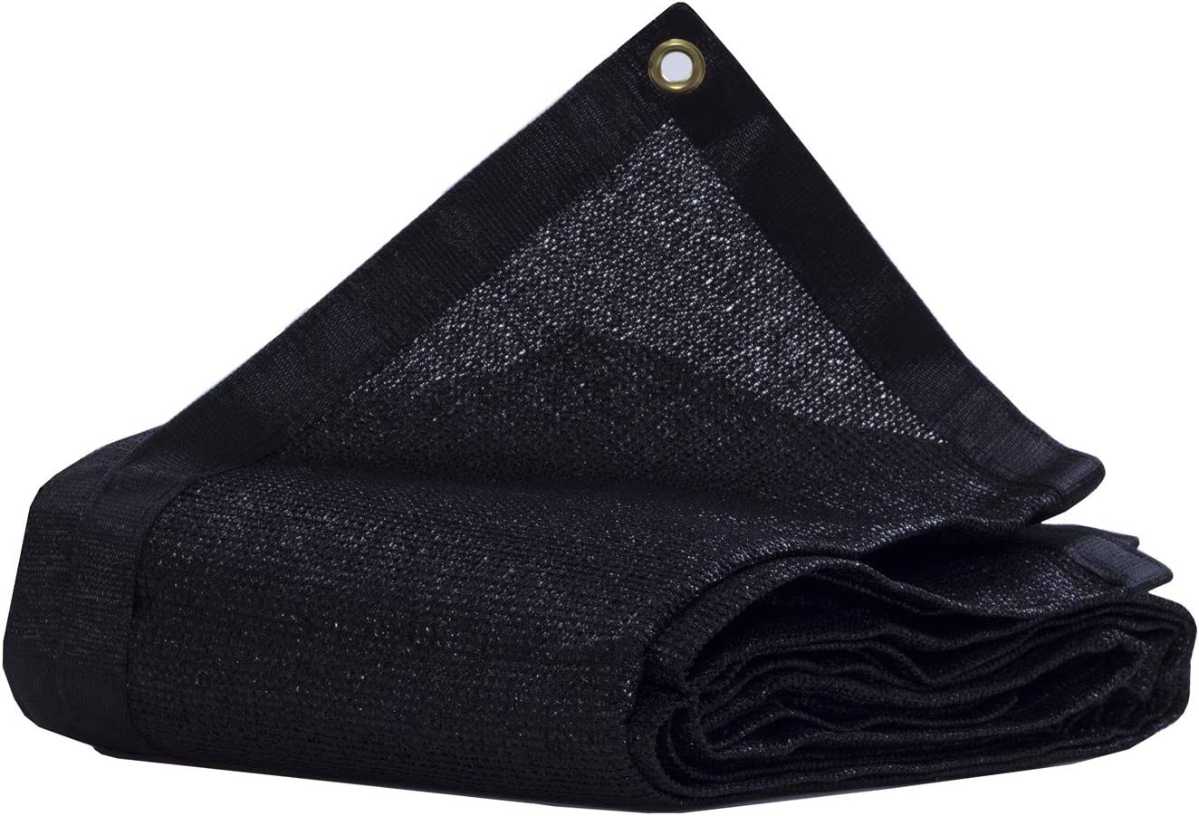 JTsuncover- 90% Heavy Duty Shade Cloth Mesh Sun Block Fabric - with Grommets -Black 12 ft x 6 ft