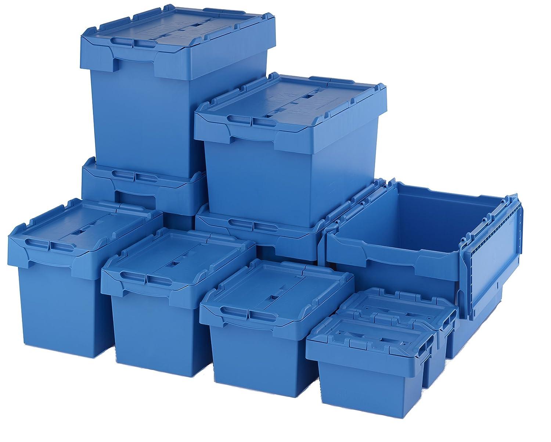 mit Deckel 53 Liter-Beh/älter blau 53 l Fassungsverm/ögen Kroko-Optik blau 53 l St/ärke Industrial Kisten Totes Deckel aus Kunststoff