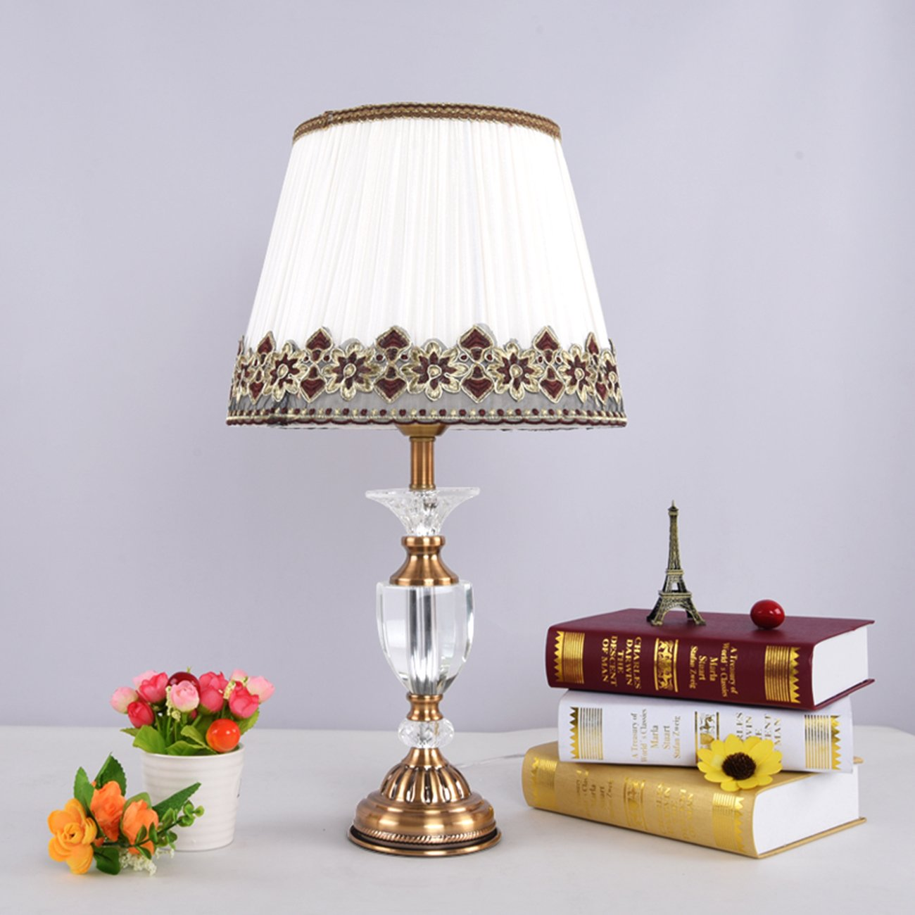 Garwarm Crystal Flower Table Lamps For Living Room Bedroom,3055CM/11.821.6 Inch WH