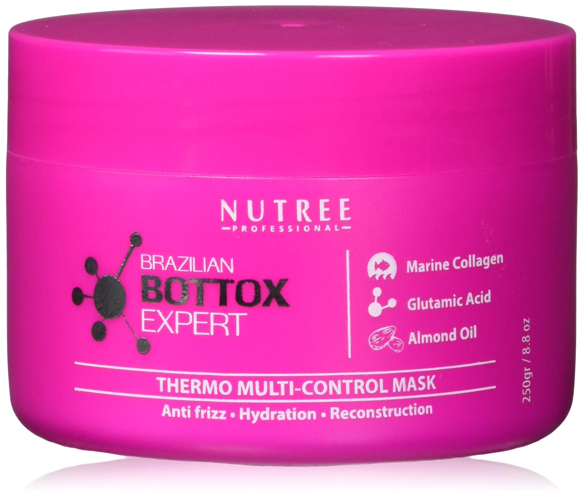 Brazilian Hair Bottox Expert Thermal Mask 8.8 oz - Contains Marine Collagen and Almond Oil - Formaldehyde-Free - Repairs the Hair Elasticity and Flexibility, Softens, Moisturizers, Adds Shine by Nutree Professional (Image #1)