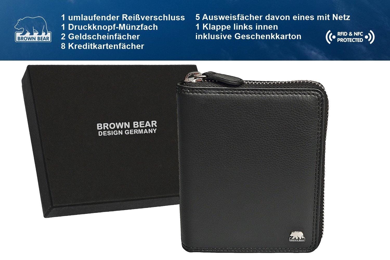 7ff1024fb9c7b Brown Bear Geldbörse Leder Schwarz Reißverschluss RFID Schutz hochwertig  Doppelnaht Damen Geldbeutel Herren Portemonnaie Frauen Portmonee größeres  Bild