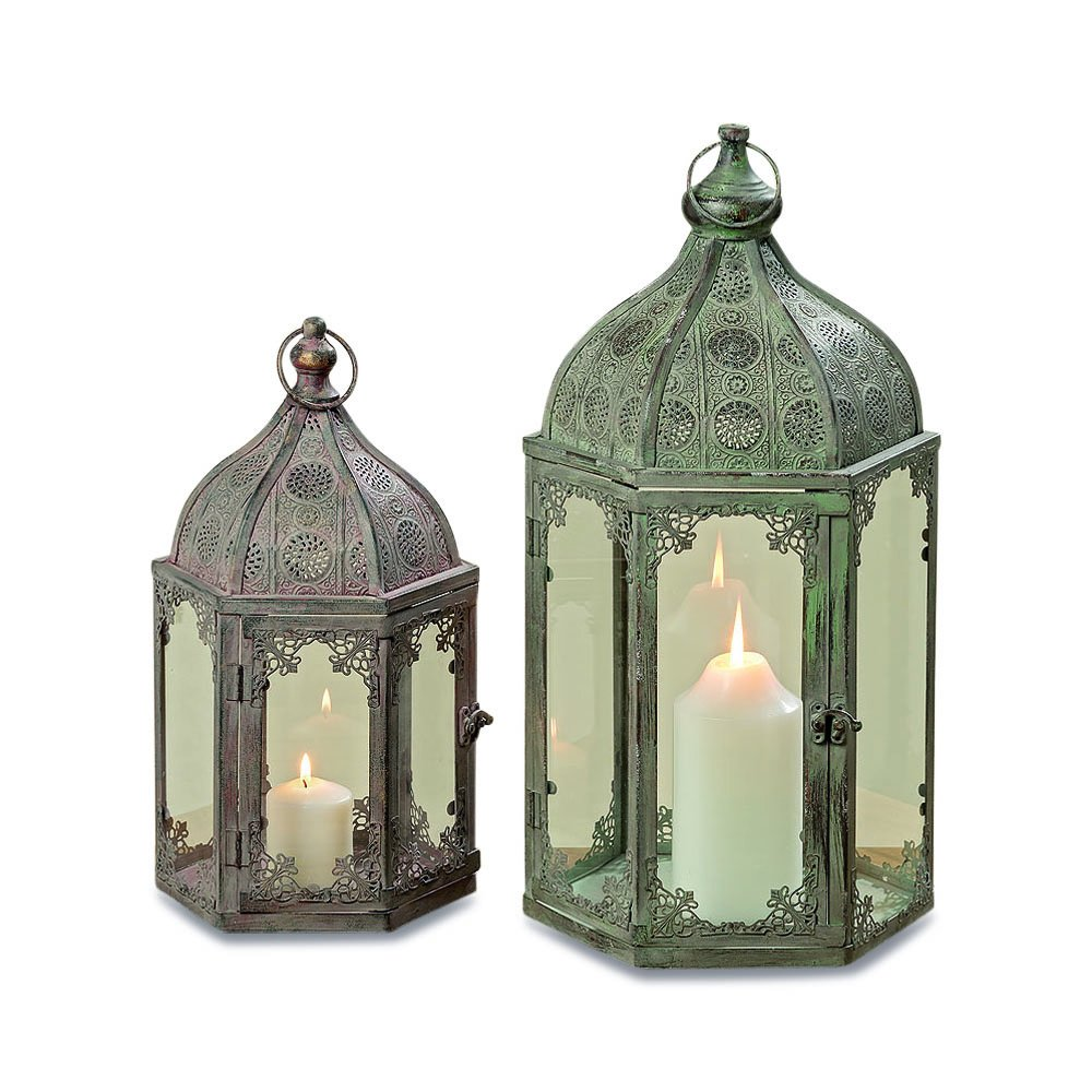 The Grand Tour Temple Lanterns, Set of 2, Hurricanes, Distressed Gray, Victorian Blush, Patina, For LED or Wax Candles, Iron, 21 3/4 and 15 3/4 Inches Tall, By Whole House Worlds