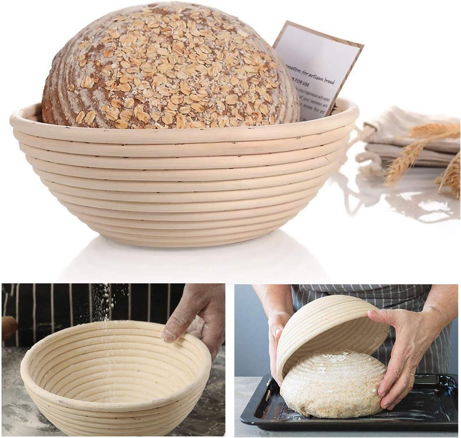 Handmade bread fermentation basket Round bread basket 8.8-inch Natural rattan fermentation basket Linen dough interlining