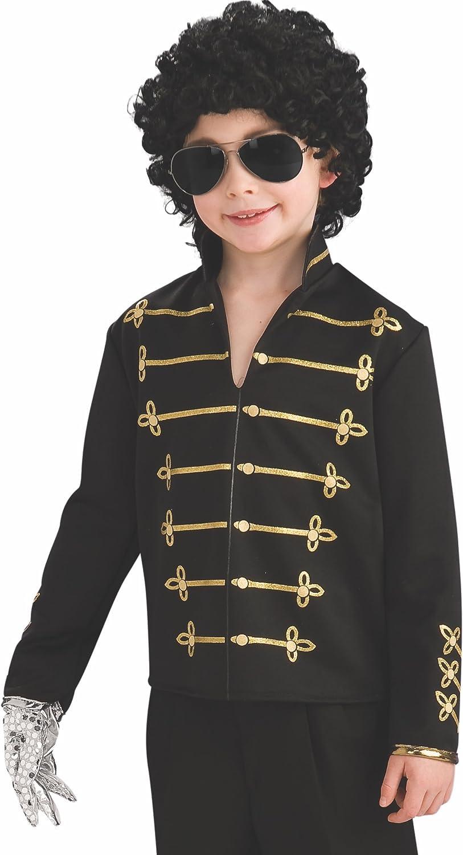 Rubies Camiseta militar negra de Michael Jackson para niño: Amazon ...