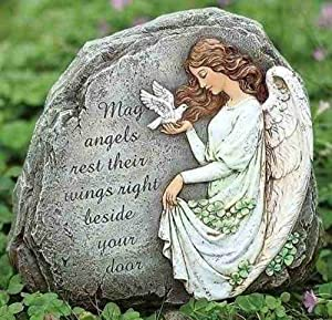 Joseph Studio 62407 Tall Celtic Angel Garden Stone with Inscribed Verse May Angels Rest Their Wings Right Beside Your Door, 8.25-Inch
