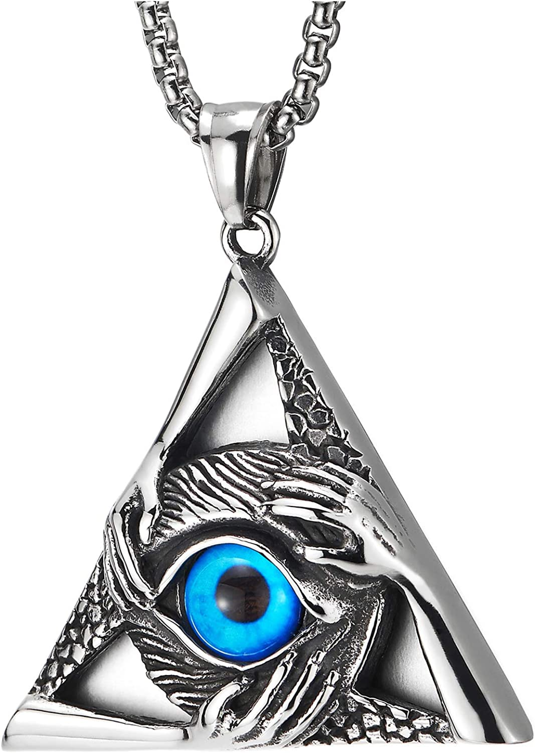 COOLSTEELANDBEYOND Steel Vintage Evil Eye Protection Hands Triangle Pendant Necklace for Men Women 30 Inch Wheat Chain