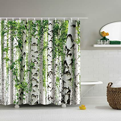 Ezlif White Birch Forest Green Leaves Home Decor Shower Curtain 70 X