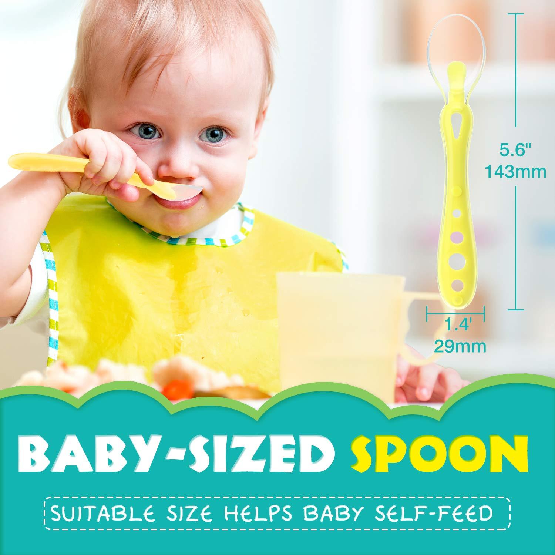 die L/öffel f/ür Babys Nahrungsmittelhelfer Blau /& Gr/ün Kinderbesteck Zooawa Baby Erg/änzungsnahrungsmittel-L/öffel-Set 2-Pack Lebensmittel-Silikon-L/öffel-Kit f/ür /über 4 Monate Baby erste Stufe
