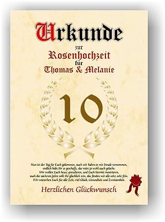 Urkunde Zum 10 Hochzeitstag Rosenhochzeit Geschenkurkunde Rosen Hochzeit Personalisiertes Geschenk Karte Zum Ehrentag Xxl Din A4