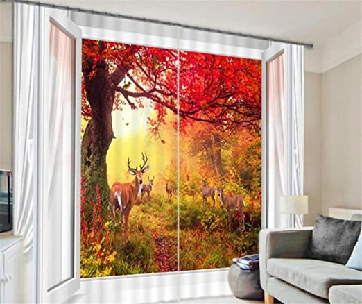 H M Curtain Sunshine Antelope Hotel Family Shade Warm Bedroom Decorated Window Curtains 3d Finished Wide 3 6x High 2 7 Amazon Co Uk Kitchen Home