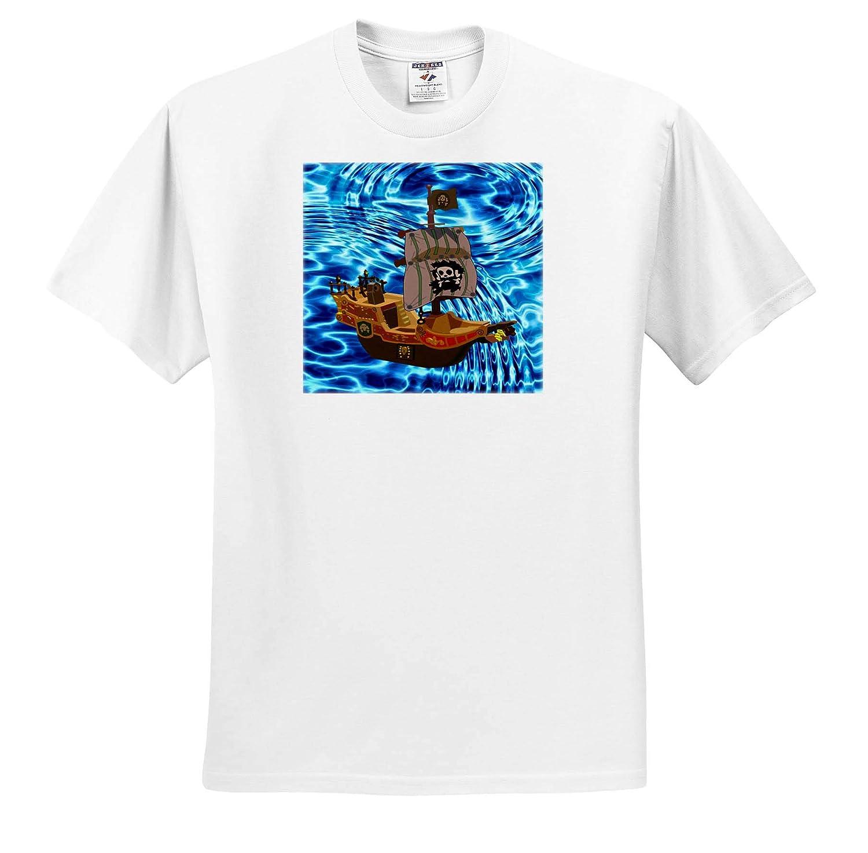 Nautical D/écor II Image of Cartoon Pirate Ship On Real Sea 3dRose Lens Art by Florene Adult T-Shirt XL ts/_317568