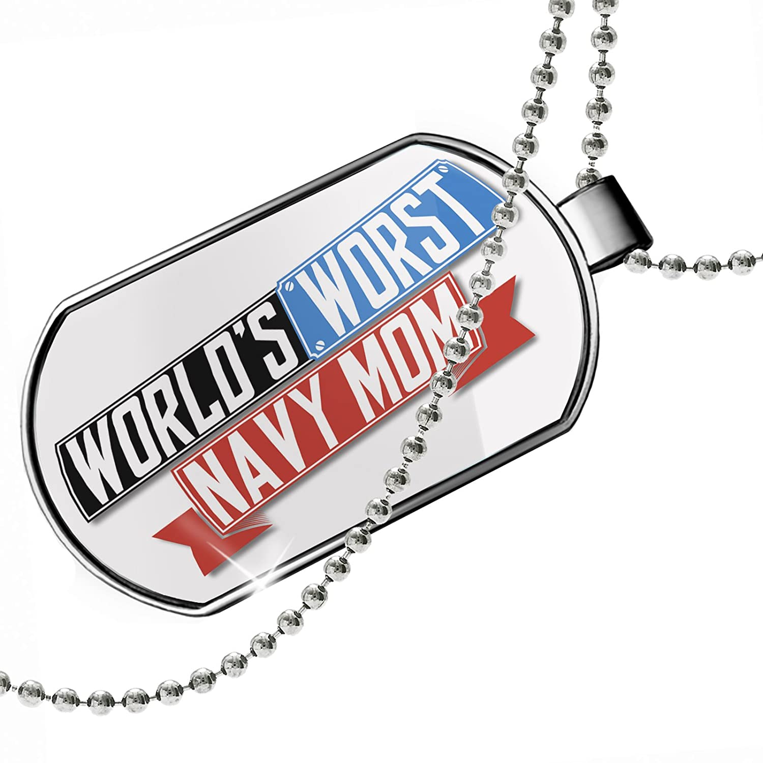 NEONBLOND Personalized Name Engraved Funny Worlds Worst Navy Mom Dogtag Necklace