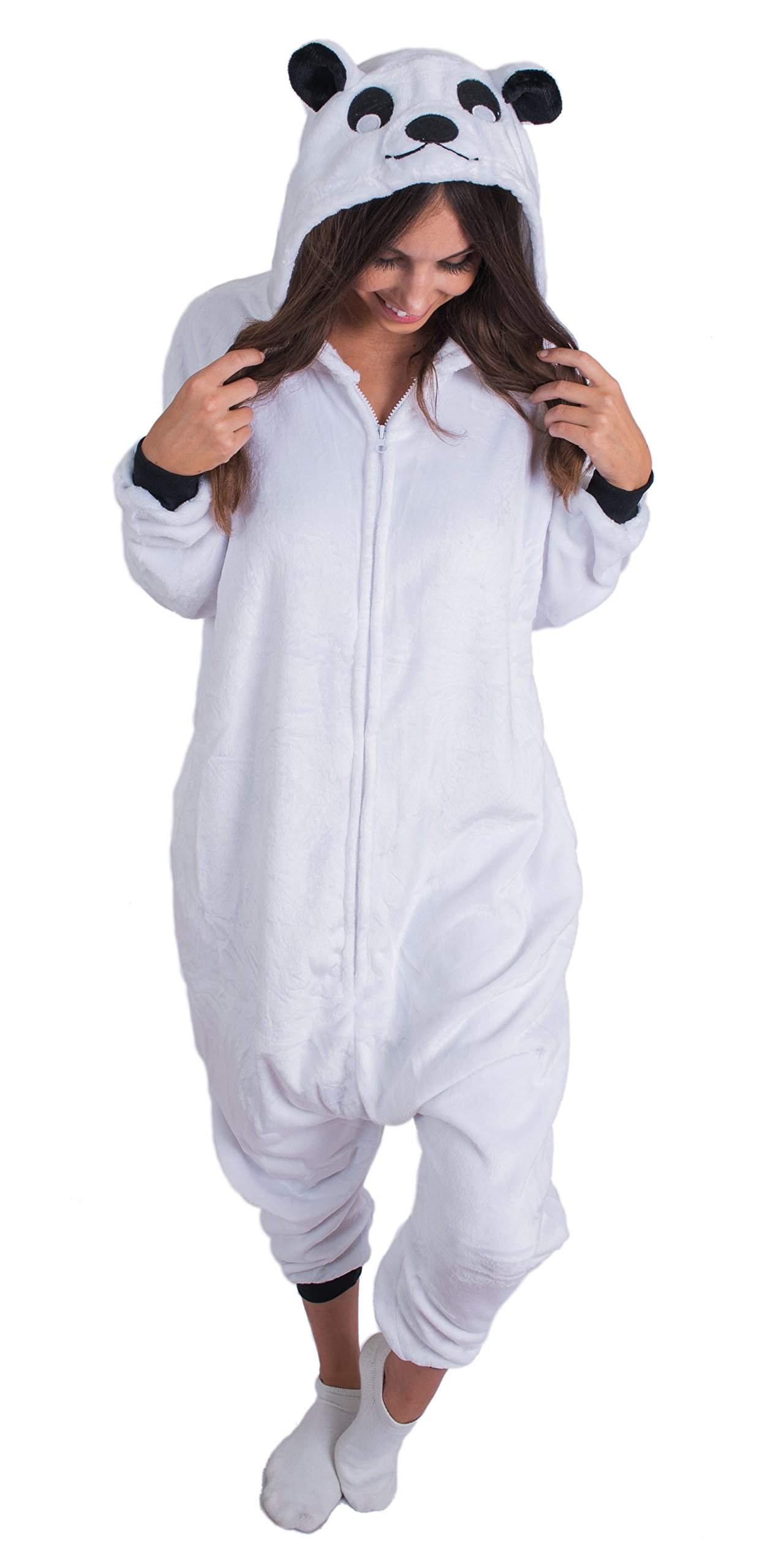 Adult Onesie Polar Bear Animal Pajamas Comfortable Costume With Zipper and Pockets (Small)