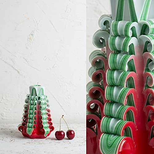 christmas tree colors small red green and white decorative hand carved candle evecandles - Why Are Christmas Colors Red And Green