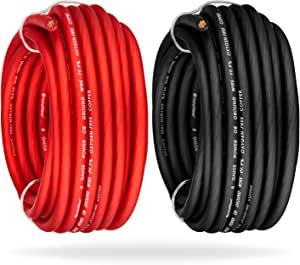 InstallGear 8 Gauge 25ft Red + 25ft Black Power or Ground Wire - 99% Oxygen-Free Copper (OFC)