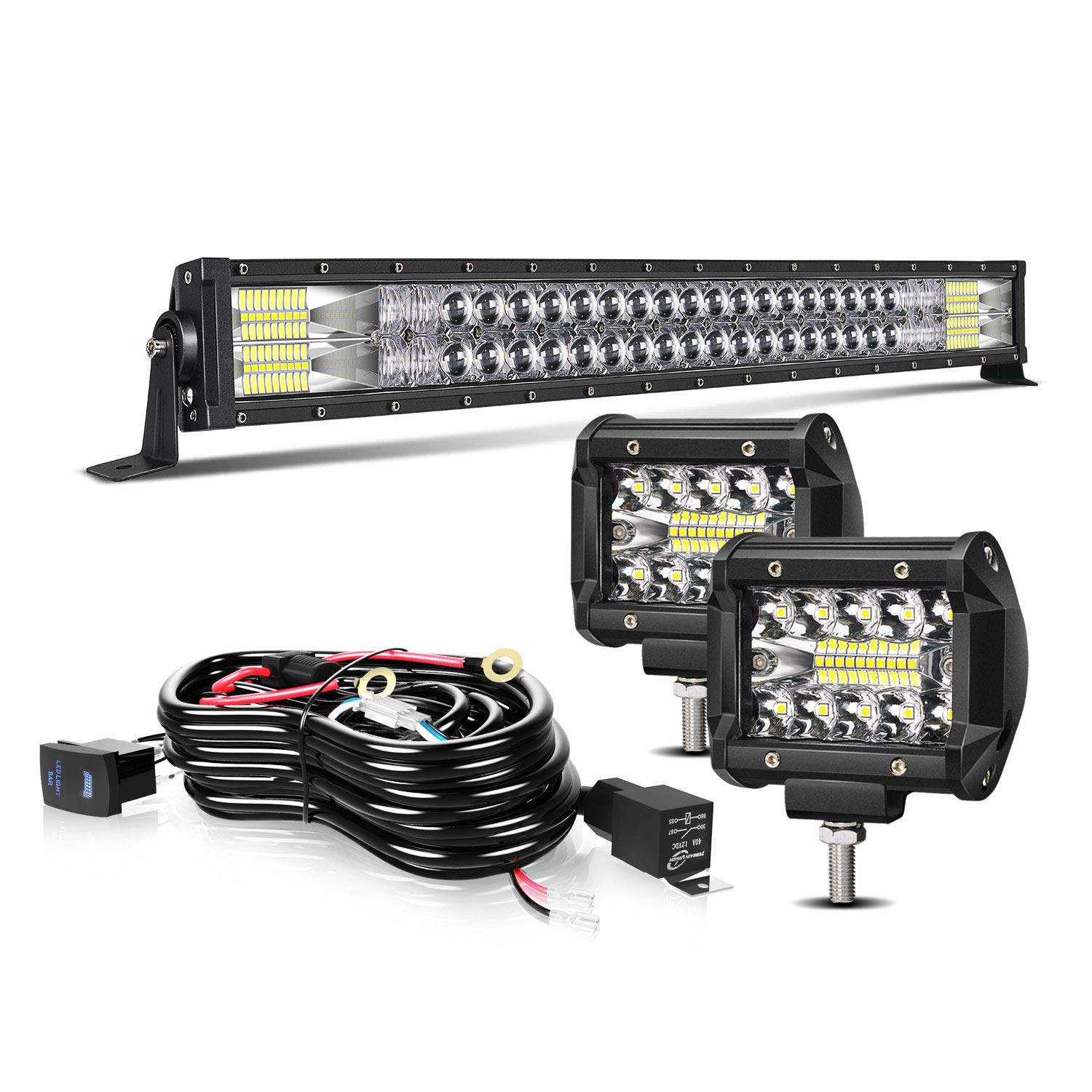 """TURBO SII 32"""" LED Light Bar 5D 180W Flood Spot Combo Beam Led Bar W/ 2Pcs 4in Off Road Driving Fog Lights with Wiring Harness-3 Leads for Jeep Trucks Polaris ATV Boats Lighting"""