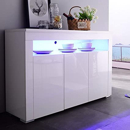 Mecor Kitchen Buffet Cabinet,High Gloss LED Sideboard,Storage Server Table  With 3 Doors