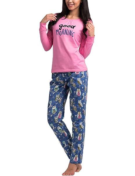 Rossli SAL-PY 1019 Pijama De Dos Piezas Para Mujeres Con Pantalón Largo Y Blusa De Manga Larga, rosa-azul, XL: Amazon.es: Ropa y accesorios