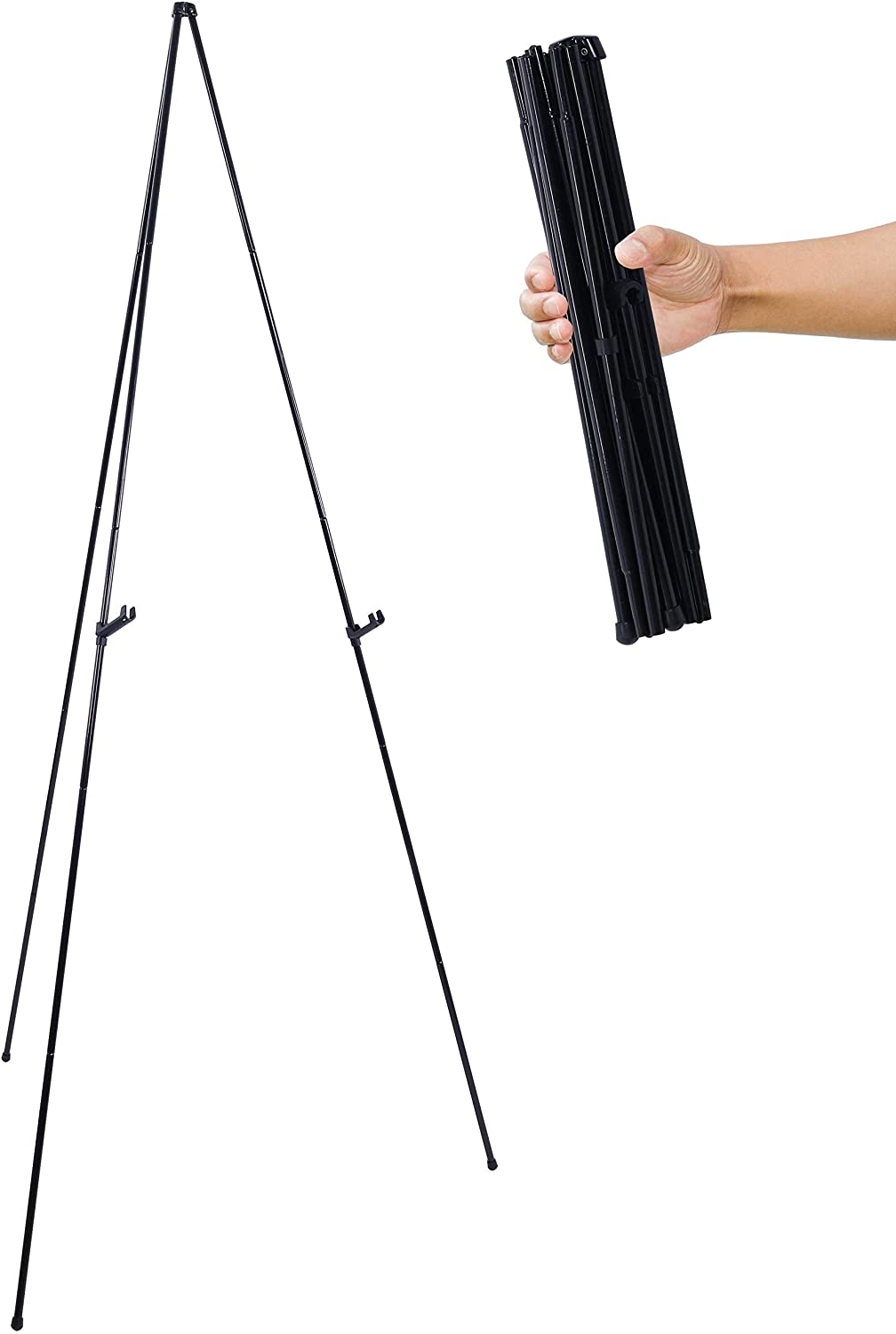 """U.S. Art Supply 63"""" High Steel Easy Folding Display Easel - Quick Set-Up, Instantly Collapses, Adjustable Height Display Holders - Portable Tripod Stand, Presentations, Signs, Posters, Holds 5 lbs"""