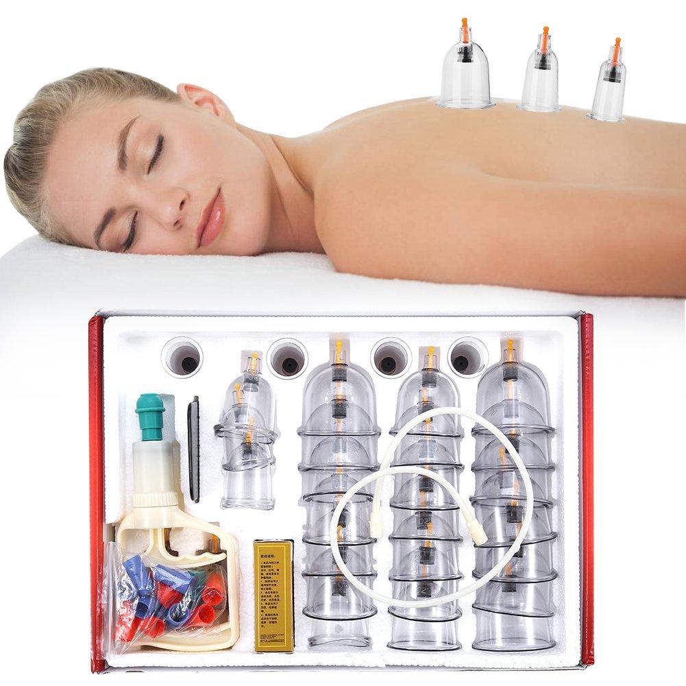 Set de ahuecamiento chino, terapia de ahuecamiento profesional, 32 tazas de alivio del dolor de masaje Cuidado de la salud kit de ventosa de aspiración Succión de masaje para dolor de espalda/cuello Yotown