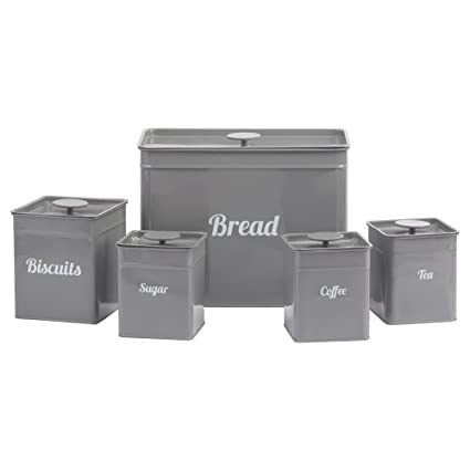 Cooks Professional Kitchen Storage Canister Set 5 Piece Tin