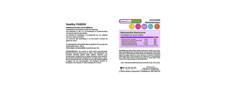 Vitaminas C, E, B6, A y D3.- Potente Multivitamínico INMUNÍZATE. Formato Gominola de 60 unds Sabor Cereza.: Amazon.es: Salud y cuidado personal