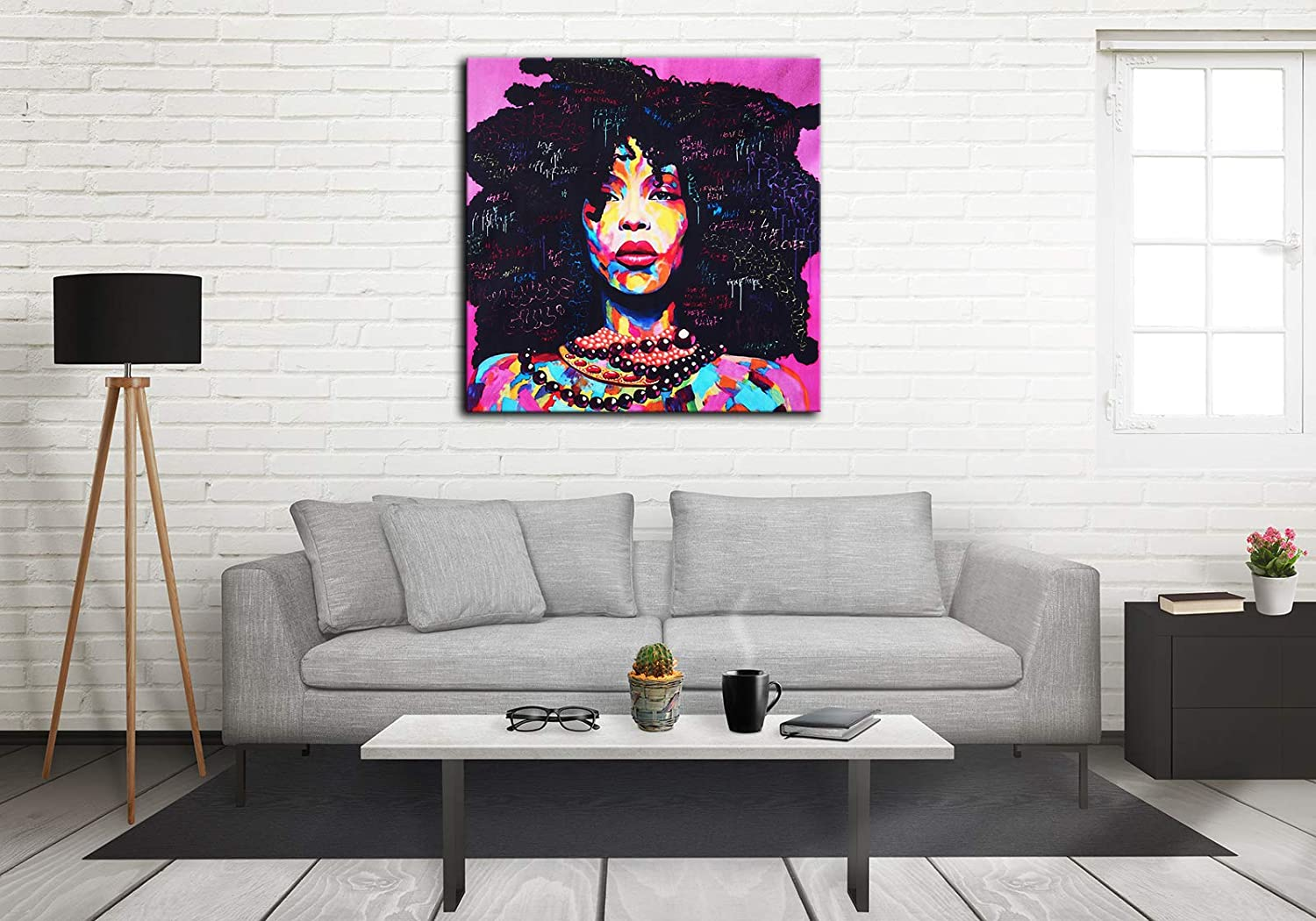 African American Black Art Canvas Bedroom Home Decor Wall Art Canvas Painting Graffiti Abstract Style Poster Print Painting Decoration Living Room Framed Ready to Hang 24Wx24H, Artwork-01