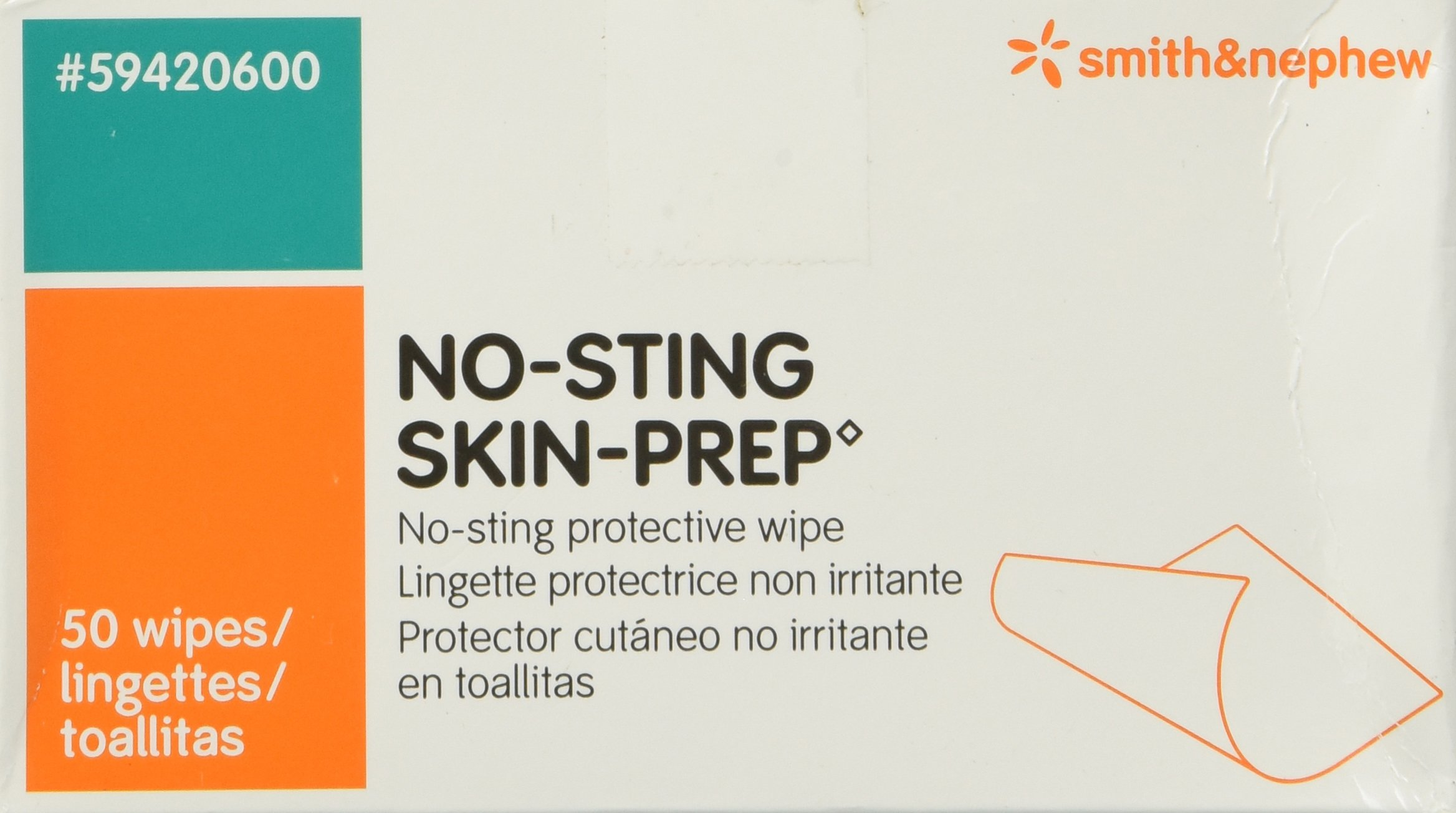Smith and Nephew No Sting Prep Wipes (Box of 50 Wipes) product image