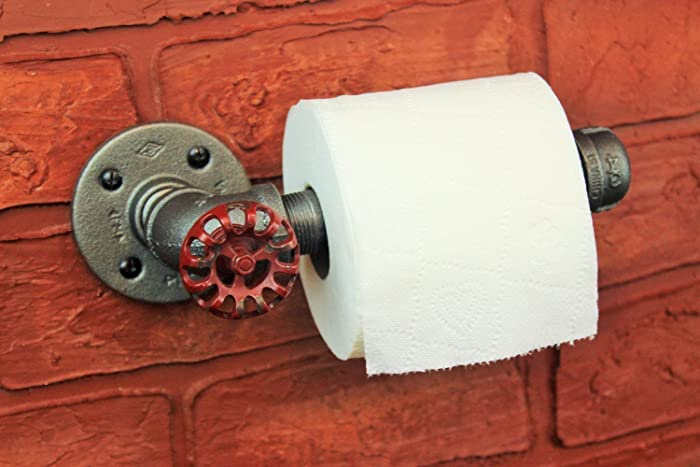 Industrial Pipe Toilet Paper Holder Roll Farmhouse Bathroom Decor Fixture
