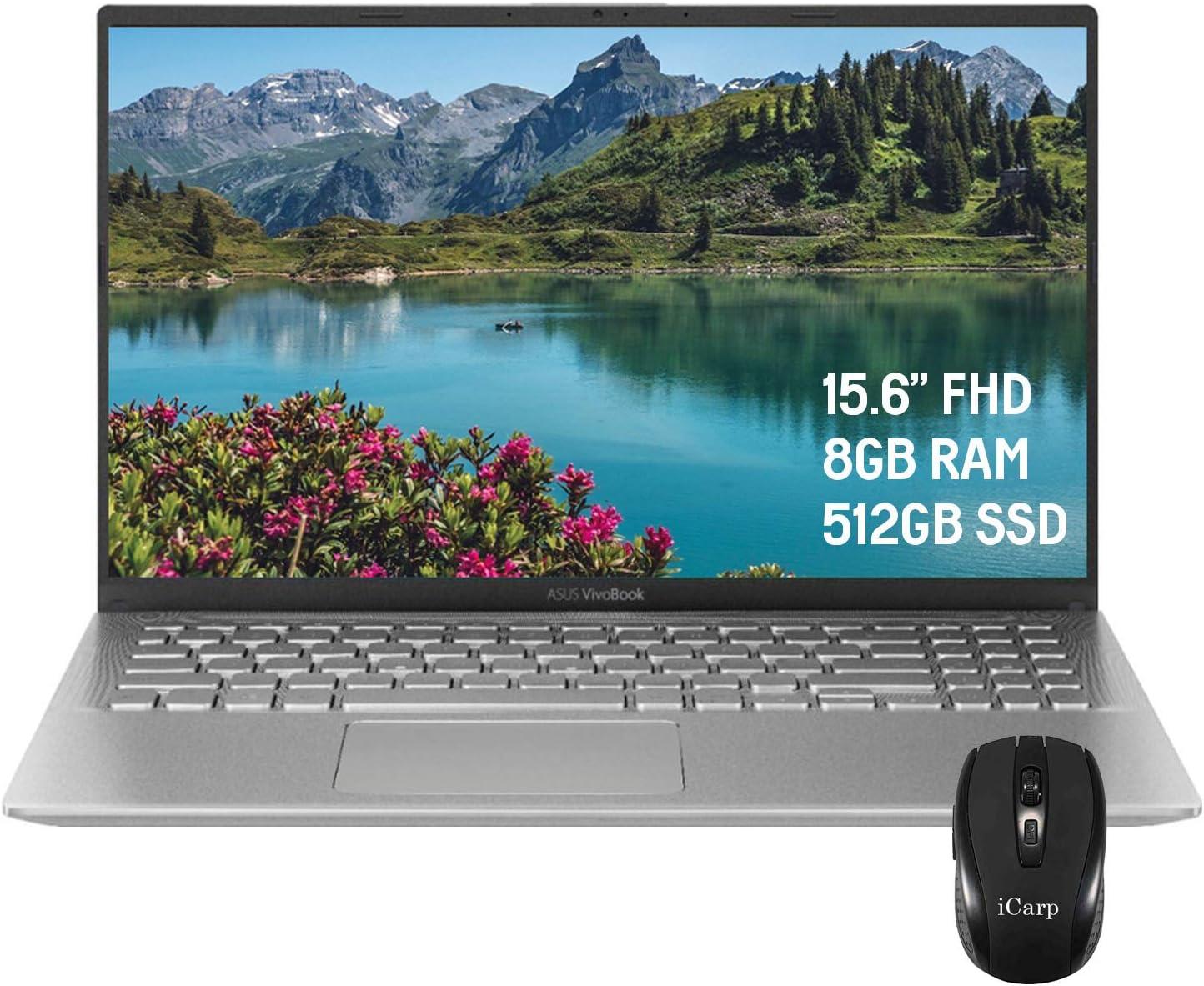 "2020 Flagship ASUS VivoBook X512DA 15 LaptopComputer 15.6"" FHD Display AMD Quad-Core Ryzen 5 3500U (Beats i7-7500U) 8GB DDR4 512GB SSD Webcam AMD Radeon Vega 8 Win 10 Pro + iCarp Wireless Mouse"