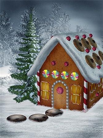Leowefowa 5X7FT Vinyl Photography Backdrop Christmas Cartoon Gingerbread House Lollipops Rustic Tree Heavy Snow Winter Scene
