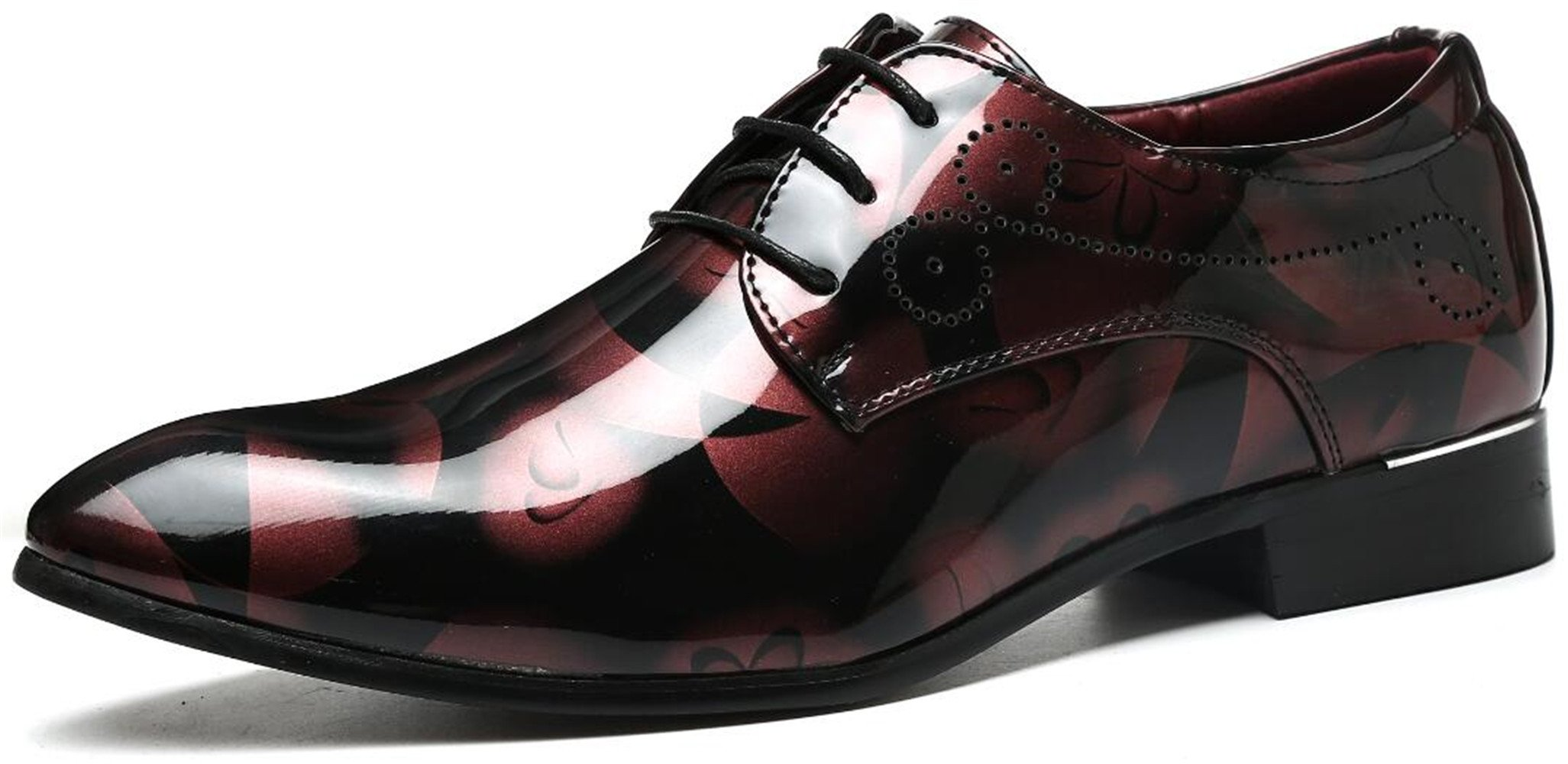 Men's Fashion Shiny Patent-Leather Shoes Tuxedo Wingtip Oxford Shoes (6.5, Red)