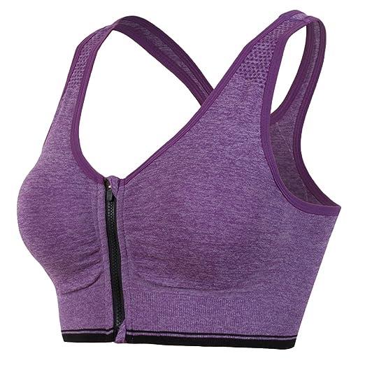 YiJeee Avant Zipper Brassière Sport Femme Soutien-Gorge de Sport sans  Couture sans Armature  Amazon.fr  Vêtements et accessoires 558ee589f93
