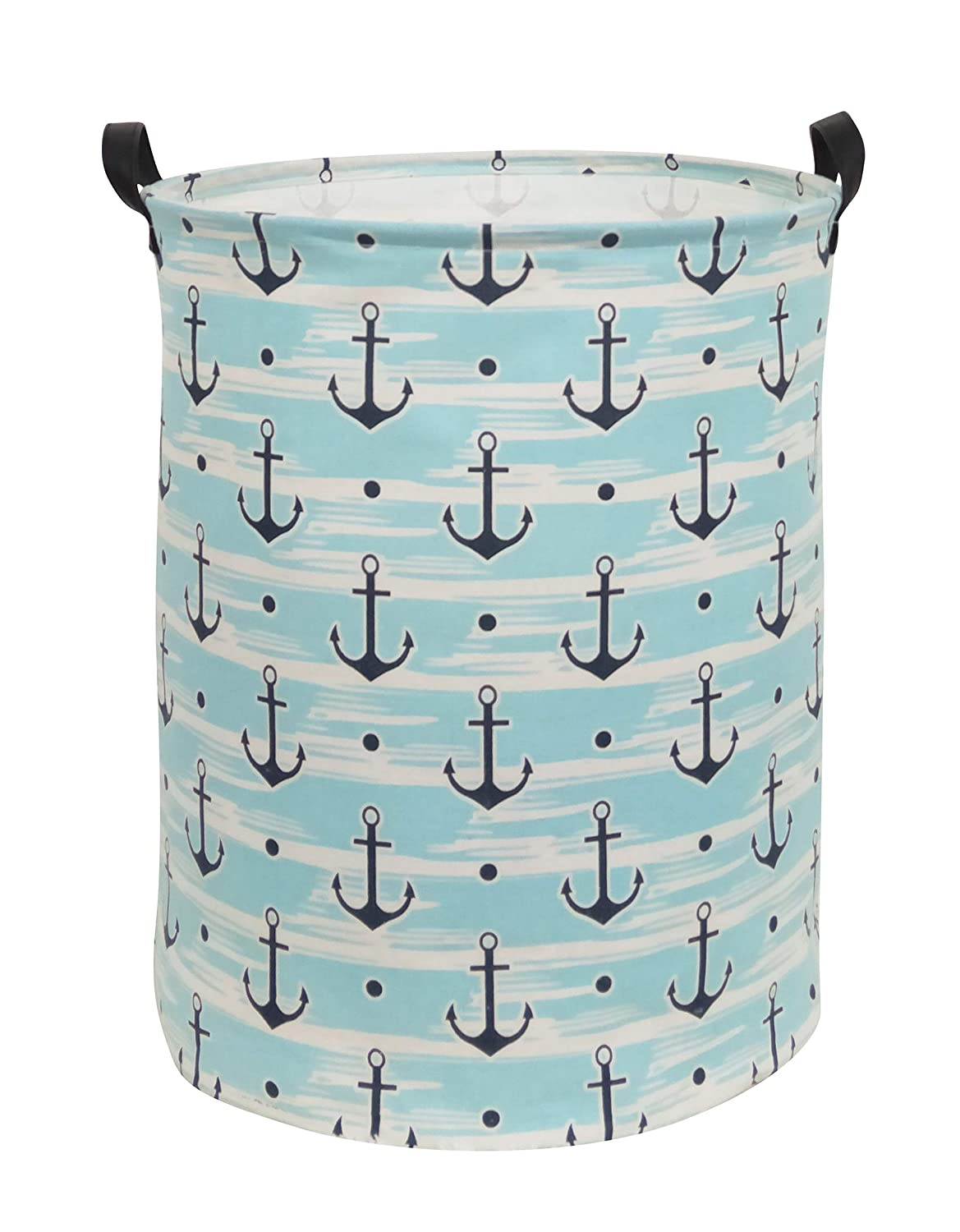 Sanjiaofen Large Storage Bins,Canvas Fabric Laundry Basket Collapsible Storage Baskets for Home,Office,Toy Organizer,Home Decor Blue Anchor