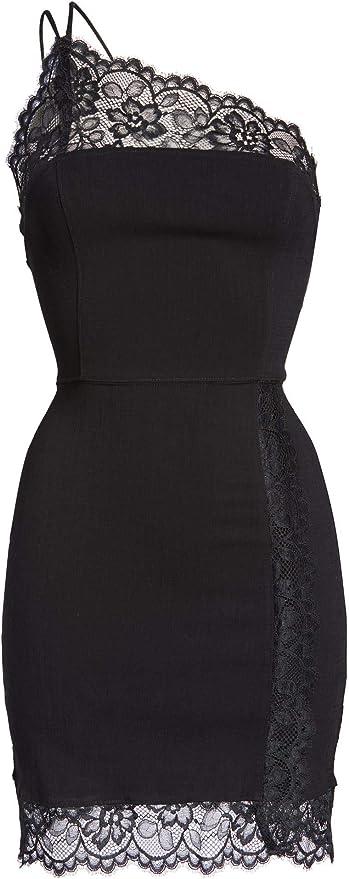 Free People NEW Womens Medium Black Premonitions Bodycon Mini Dress Lace One Sho
