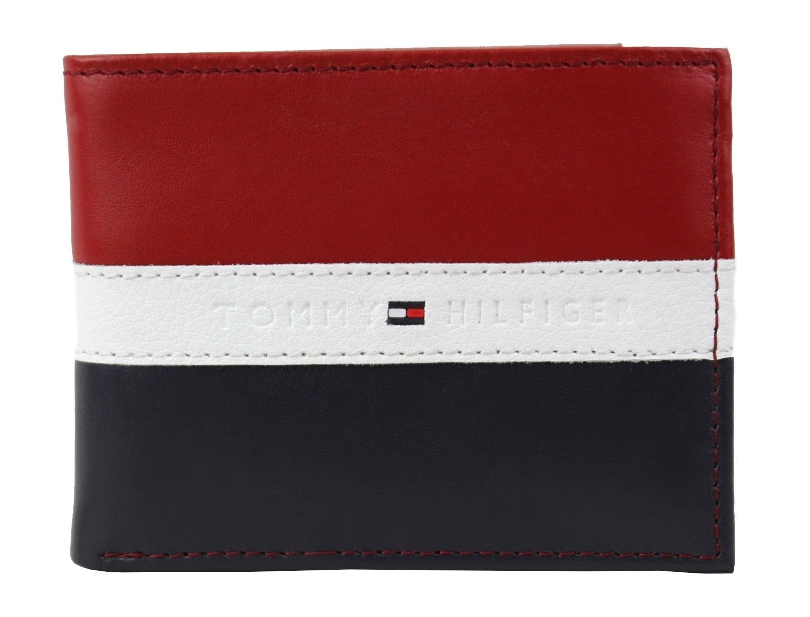 Tommy Hilfiger Men's Rfid Blocking 100% Leather Passcase Wallet, Red/Navy, One Size