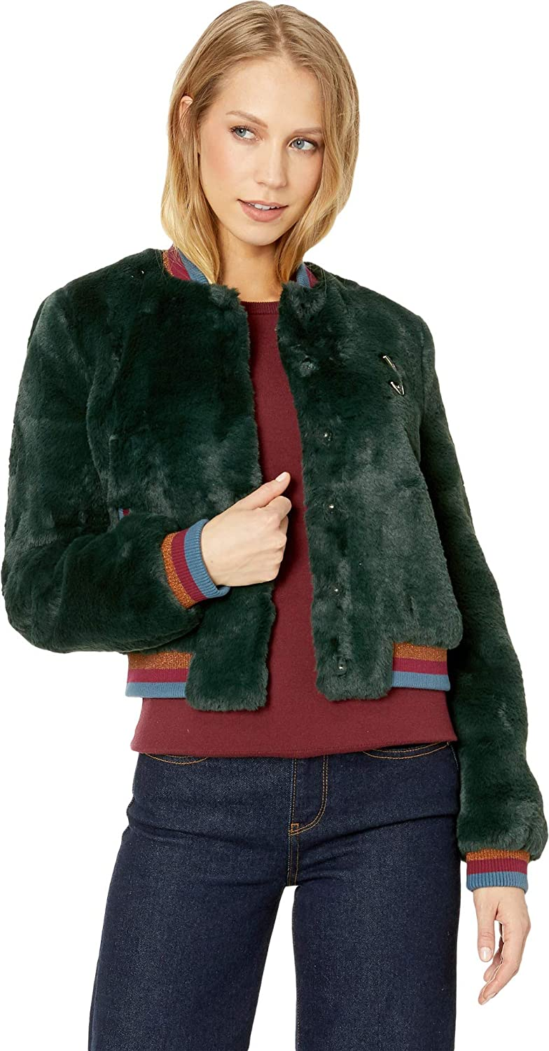 be39c636d571 Amazon.com  Ted Baker Womens Colour by Numbers Aether Faux Fur Bomber Jacket   Clothing