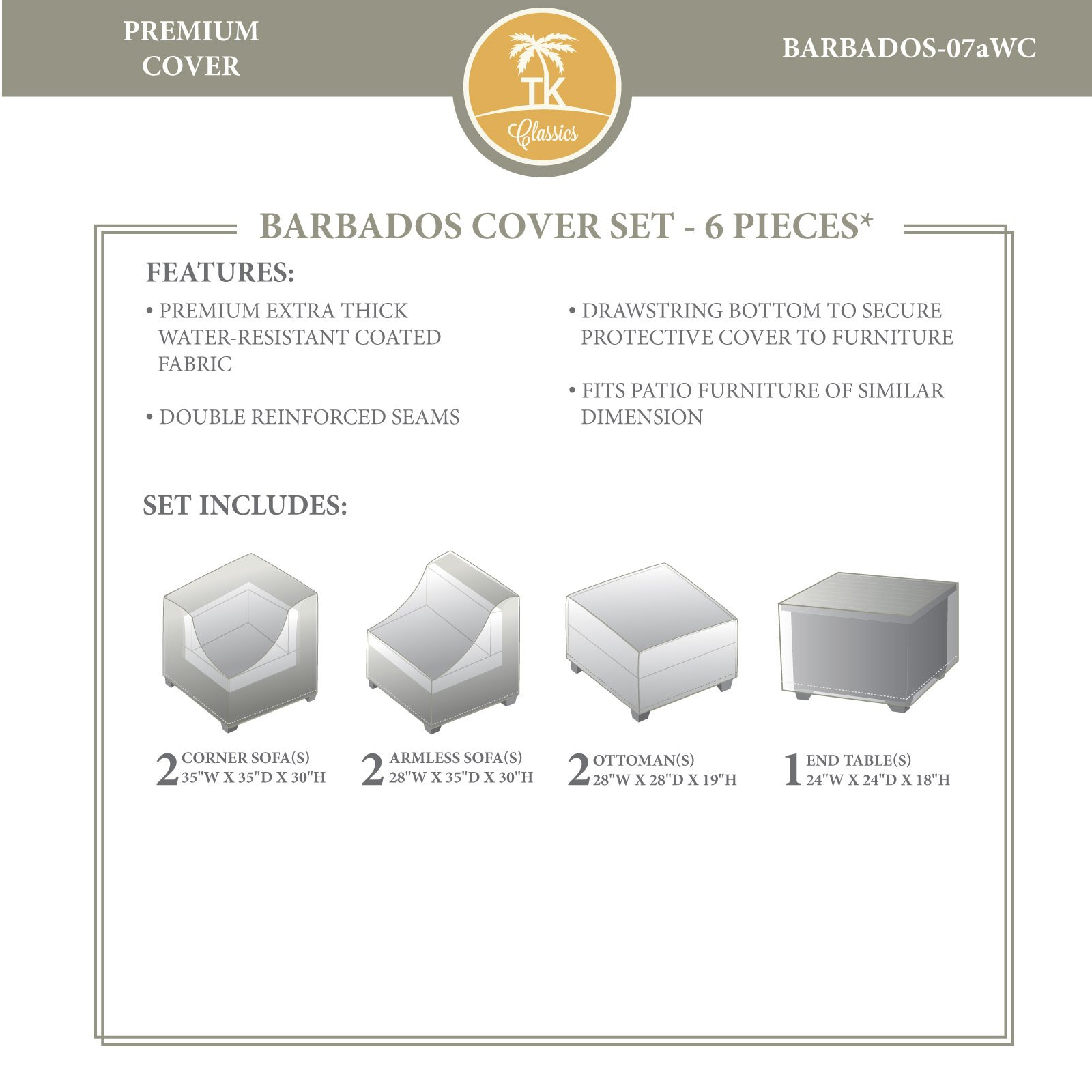 TK Classics BARBADOS-07aWC Barbados Winter Cover Set