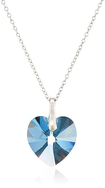 Amazon sterling silver aqua swarovski elements heart pendant sterling silver aqua swarovski elements heart pendant necklace 18quot mozeypictures Gallery