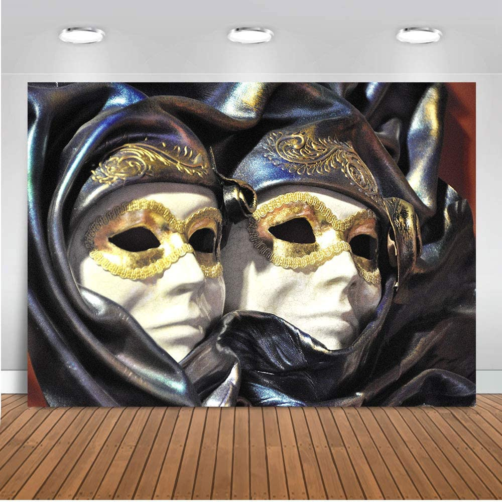 Masquerade Party Gold Mask Backgrounds LELEZ 7X5FT Thin Vinyl Photography Backdrop Dress-up Party Birthday Party Backdrop YouTube Studio Photobooth Props GEEV416