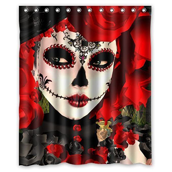 Dia De Los Muertos Suger Skull and Flower Waterproof Fabric Polyester Bathroom Shower Curtain 66 x 72