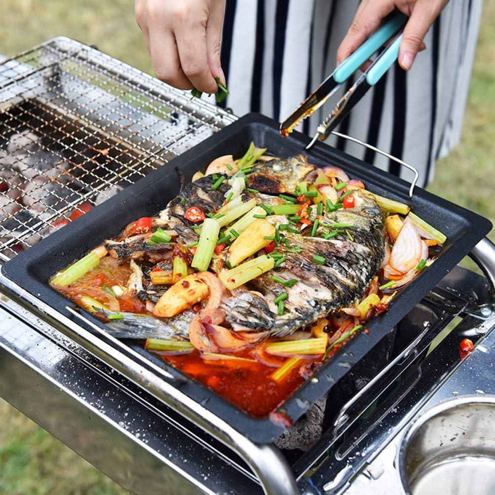 Einsgut grillschale Karbonstahl mit ILAG Antihaftbeschichtung Grillpfanne f/ür Gem/üse Fisch und Meeresfr/üchte geeignet