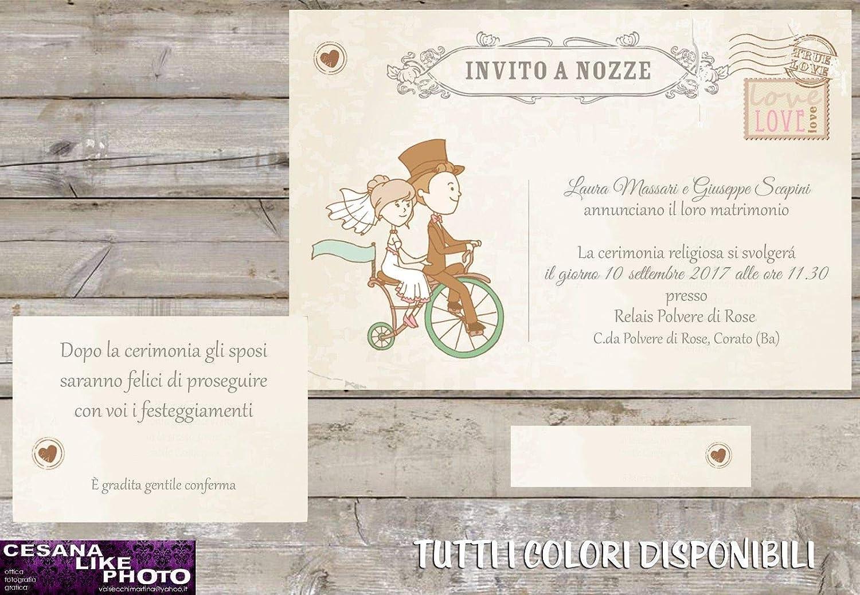 Partecipazioni Matrimonio Bicicletta.Partecipazioni Matrimonio Personalizzate Inviti Nozze Cartolina