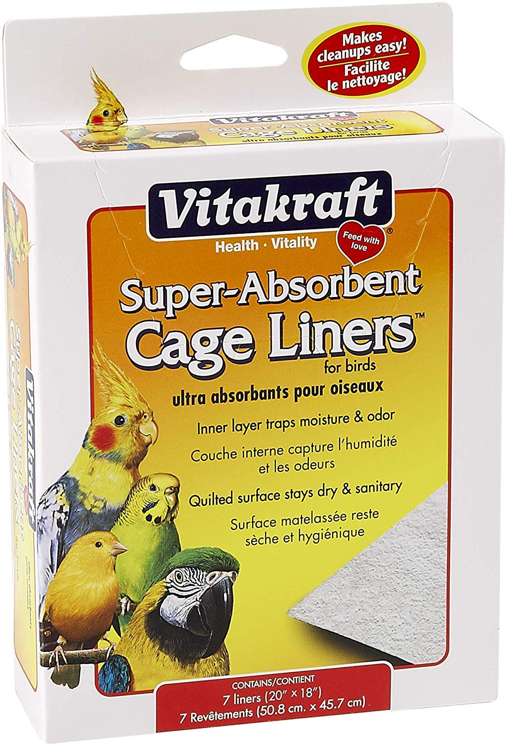 Vitakraft 512071 7-Pack Super Absorbent Cage Liners for Birds, 20″ X 18″