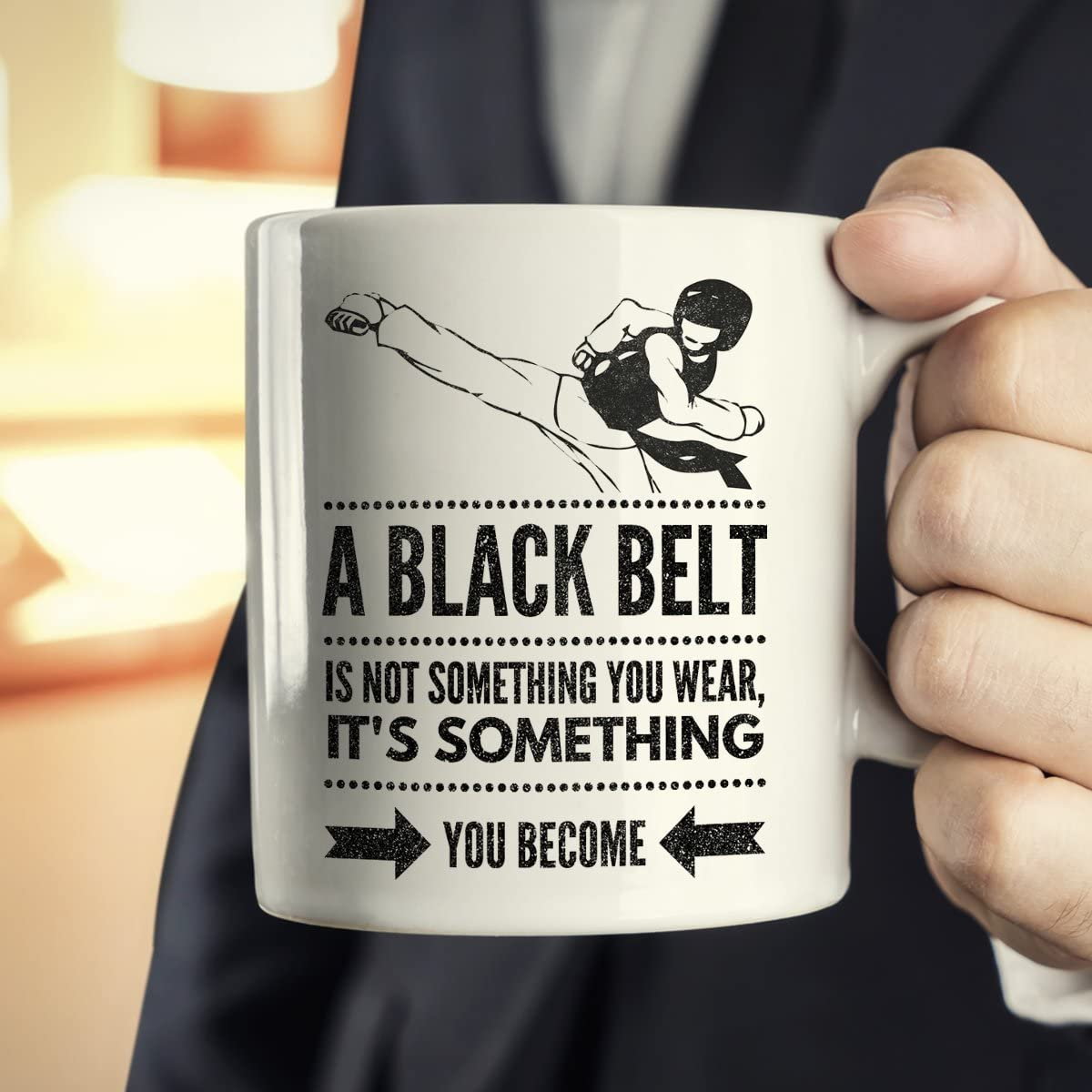 A Black Belt Not Something You Wear It/'s Become Gift Coffee Mug Details about  /Karate Is Life